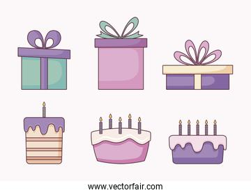 set of gift boxes and sweet cakes