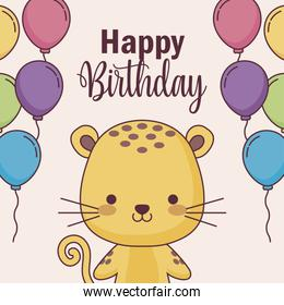 cute tiger happy birthday card with balloons helium