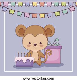 cute monkey happy birthday card gift and set icons