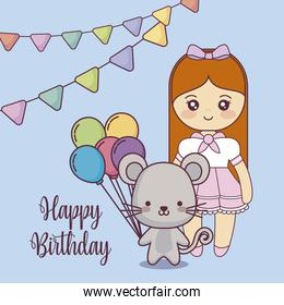 cute mouse happy birthday card