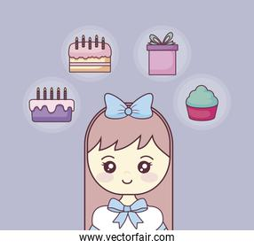 happy birthday with little girl and icons set