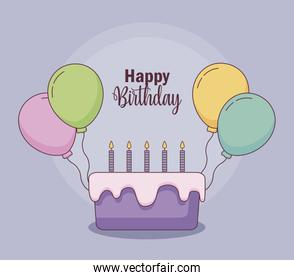 happy birthday card with cake and balloons helium