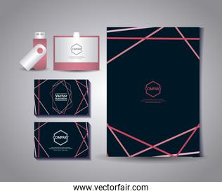 set of business cards with gafete and usb