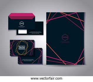 set of business card with lines and envelope