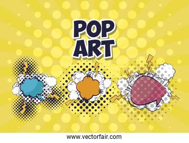 set of speech bubbles with rays pop art style