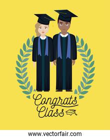 graduation celebration card with graduated couple and crown