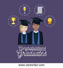 graduation celebration card with couple and set icons