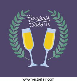 graduation class celebration card with cups of champagne