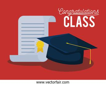 graduation class celebration card with hat and diploma
