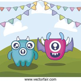 cute monsters couple in the field