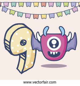 cute monster with number nine birthday card