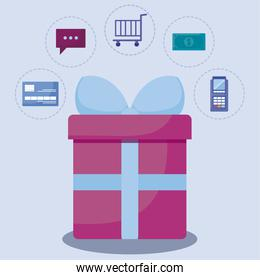 social media marketing with gift present