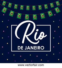carnival rio janeiro card with flags hanging