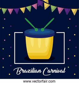carnival rio janeiro card with drum