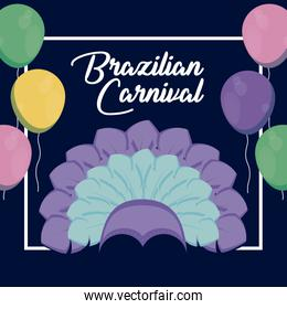 carnival rio janeiro card with feathers hat