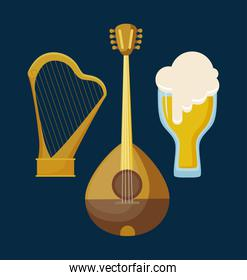 mandolin with harp and beer