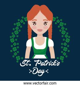 woman irish with clovers of st patrick day