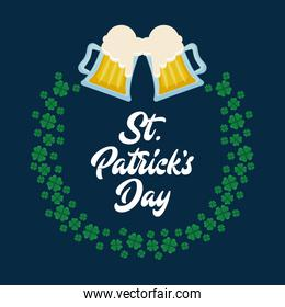 beers with frame of clovers st patrick day