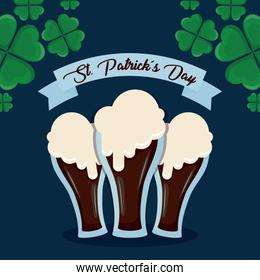 beers in glasses of st patrick day