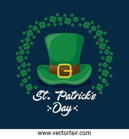 leprechaun hat and clovers of st patrick day