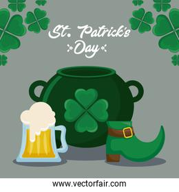 leprechaun cauldron with boot and beer of st patrick day