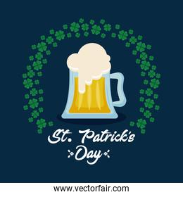 beer with circular frame of clovers st patrick day