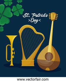 mandolin with harp and trump of st patrick day