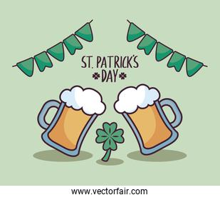 beers with clover of st patrick day