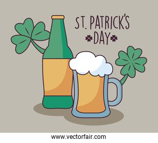 beers with clovers of st patrick day