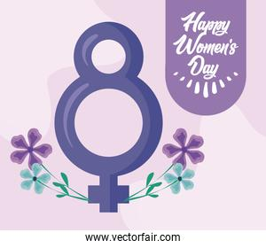 happy women day card with female gender sign