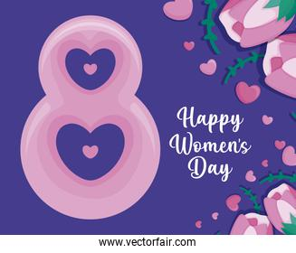 happy women day card with number eight date