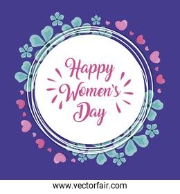 happy women day card with frame and flowers