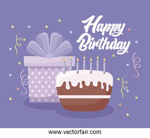 happy birthday card with sweet cake and gift box