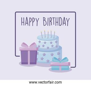 happy birthday card with sweet cake and gift boxes