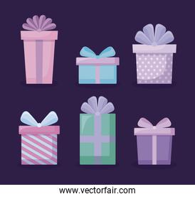 set of gift boxes icons