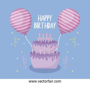 happy birthday card with sweet cake and balloons helium