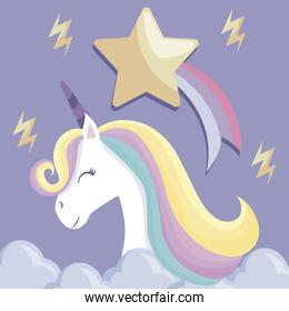 cute unicorn with golden star and clouds