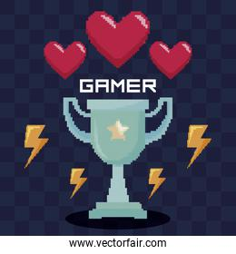 classic video game trophy and hearts