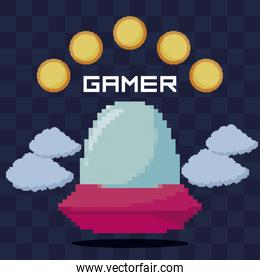classic video game ufo and coins