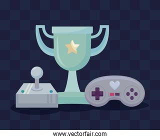 classic video game controls and trophy