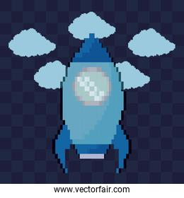 classic video game rocket flying