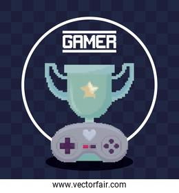 classic video game control and trophy