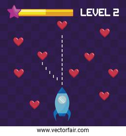 classic video game rocket flying and hearts