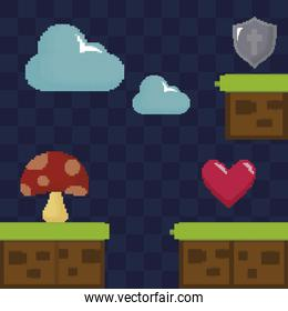 classic video game scene with fungus