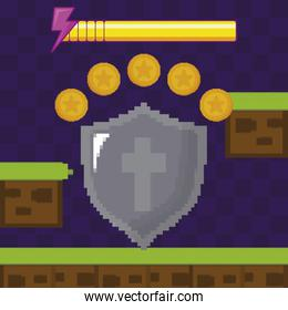 classic video game scene with warrior shield