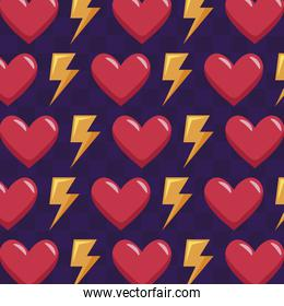 classic video game hearts and rays pattern