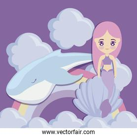 cute mermaid with whale and rainbow
