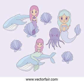 cute mermaids with whales and octopus