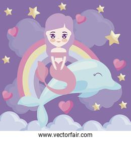 cute mermaid with with dolphin and rainbow