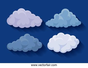 set of clouds icons